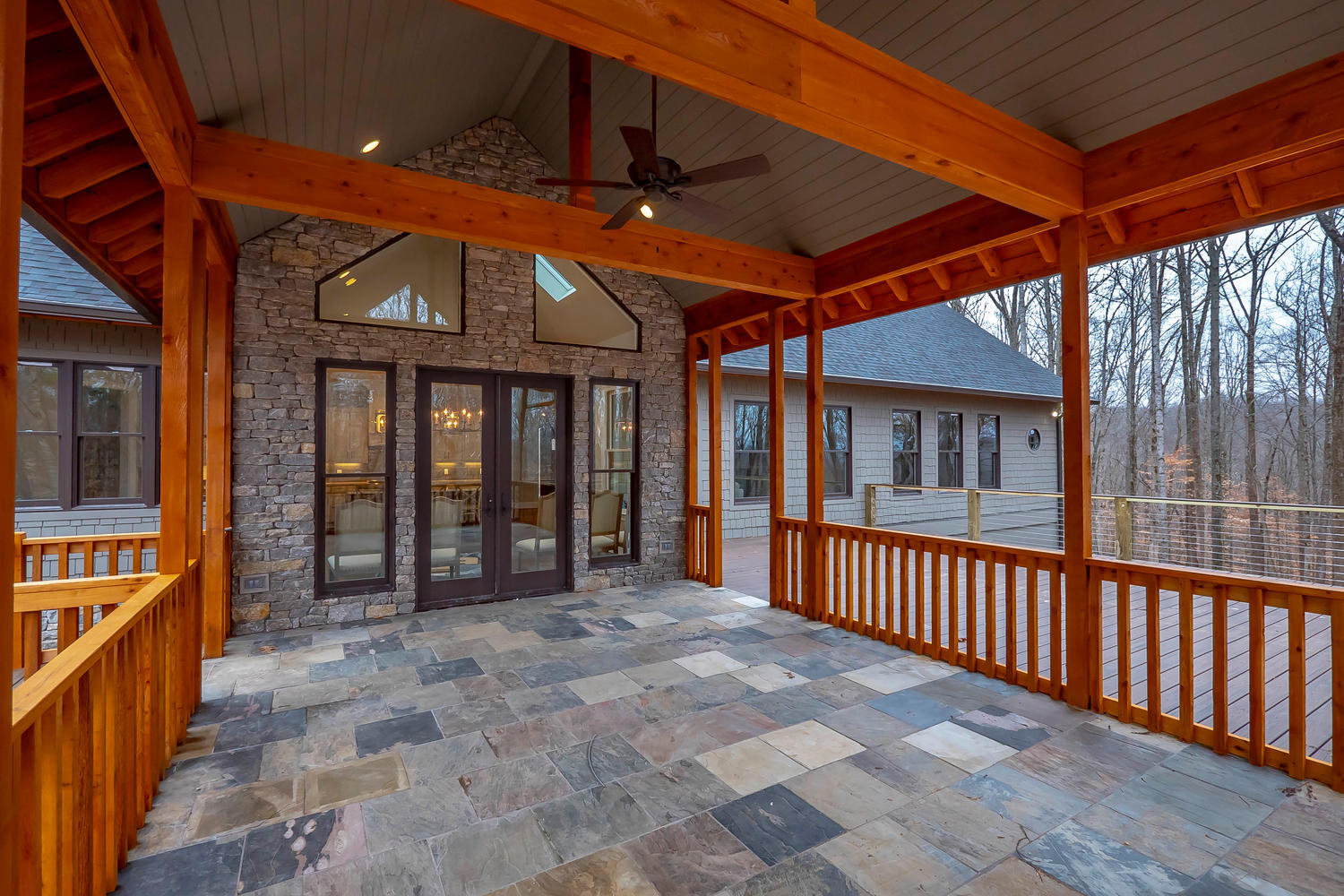 Porch with natural slate flooring